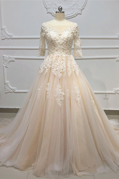 Champagne Tulle White Lace Applique Half Sleeve Long Wedding Dress_1