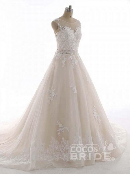 Elegant Bateau Lace Appliques Ribbon Wedding Dresses_3
