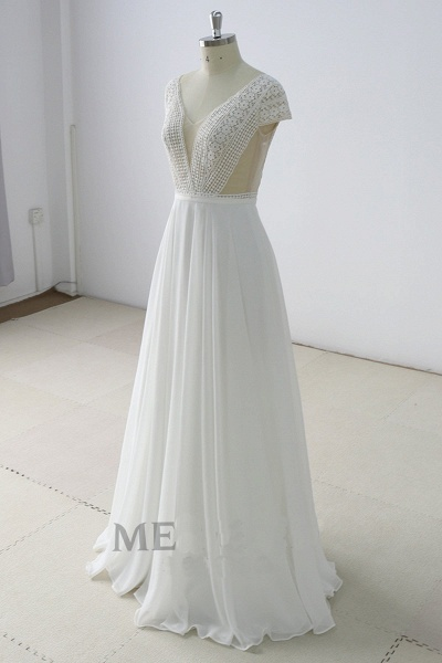 White Lace Backless V Neck Long Wedding Dress_2