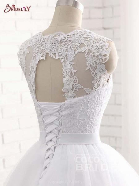 Elegant V-Neck Ball Gown Tulle Wedding Dresses_6
