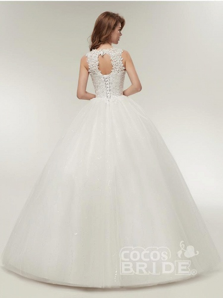 Glamorous Appliques Lace Up Ball Gown Wedding Dresses_3