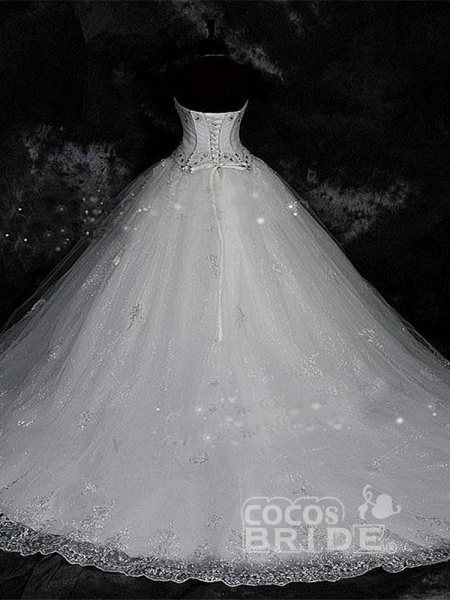 Modest Sweetheart Beaded Ball Gown Wedding Dresses_2