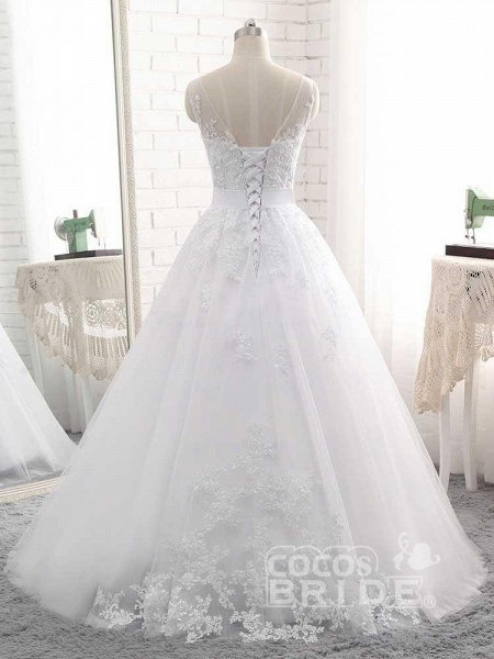 Elegant Lace-Up Ball Gown Wedding Dresses_2