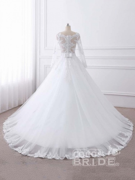 Long Sleeves Lace Ribbon Ball Gown Wedding Dresses_6