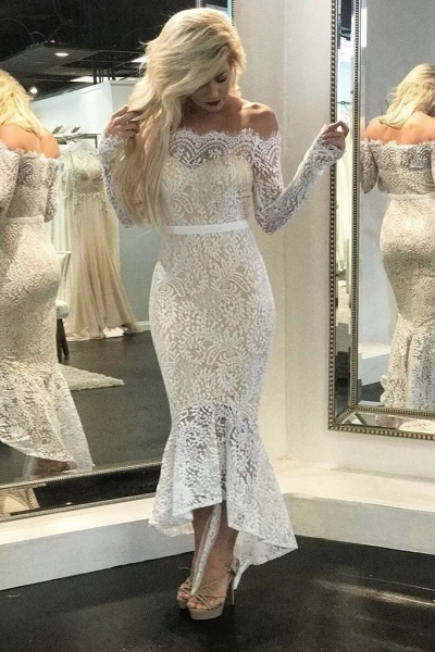 High Low Long Sleeves Mermaid Off the Shoulder Lace Wedding Dress_1
