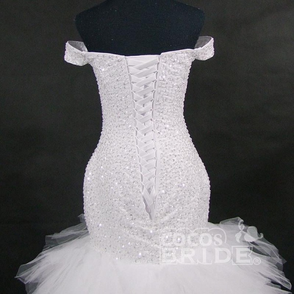 New Off the Shoulder Sequins Lace-up Mermaid Wedding Dresses_5