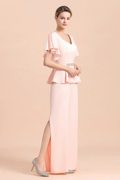 Glamorous V-Neck Beadings Sash Pink Mother of Bride Dresses_10