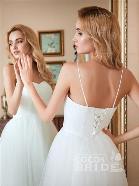 Spaghetti-Strap Lace-Up Tulle Short Wedding Dresses_4