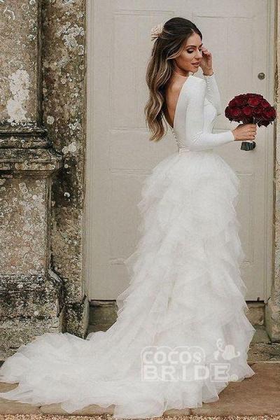 A-Line Sweep Train Tulle Long Sleeves Beach Wedding Dress_2