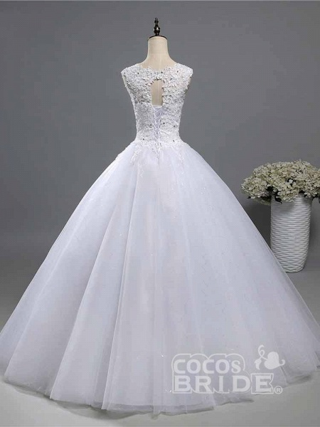 Elegant Beads Lace-Up Ruffles Wedding Dresses_2