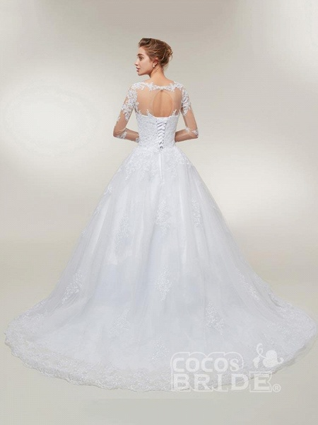 Glamorous Long Sleeves Lace-Up Ball Gown Wedding Dresses_3