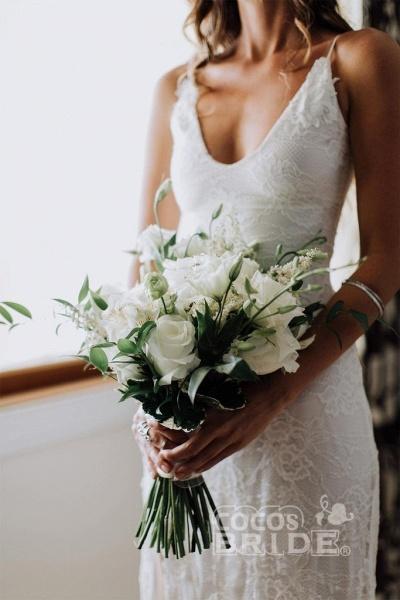 Romantic Boho Deep U Neck Backless Lace Mermaid Wedding Dress_5