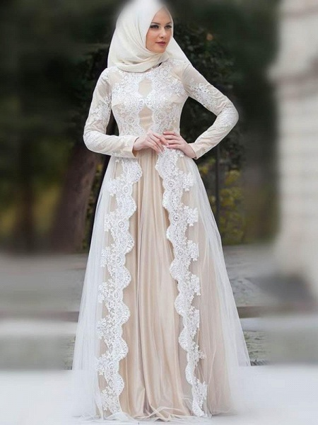 Modest Long Sleeves Lace Floor-Length Wedding Dresses_1