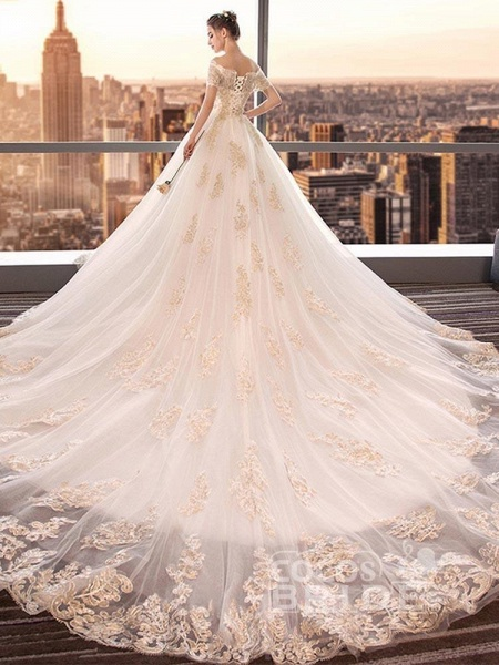 Elegant Off-the-Shoulder Lace Ball Gown Wedding Dresses_3