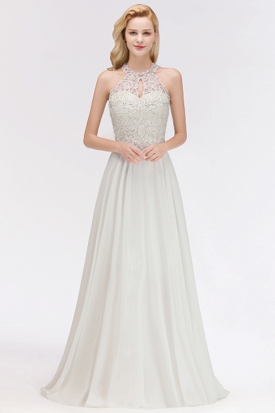 Pears Crystal A Line Halter Wedding Dresses Lace Wedding Gowns_1