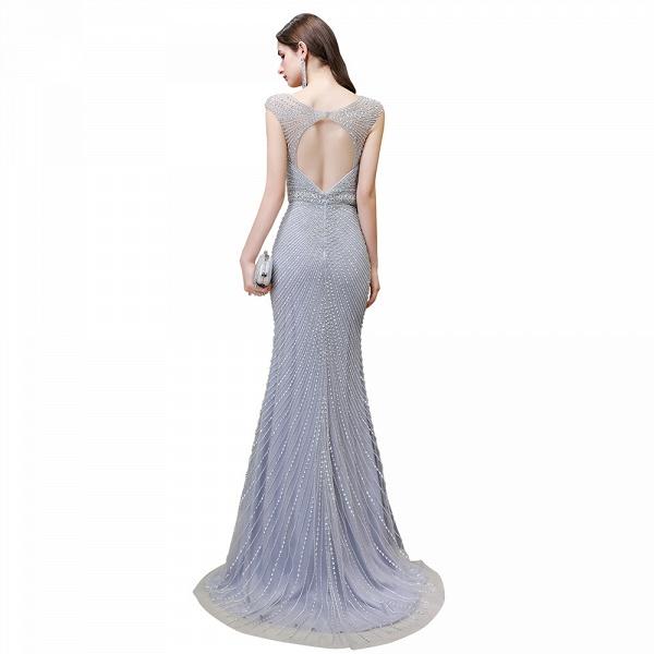 Sexy Mermaid V-neck Silver Long Prom Dress_26