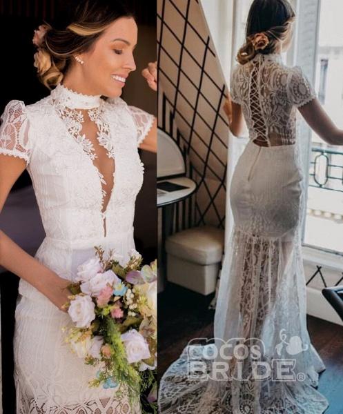 Vintage High Neck Lace Short Sleeve Wedding Dress_3