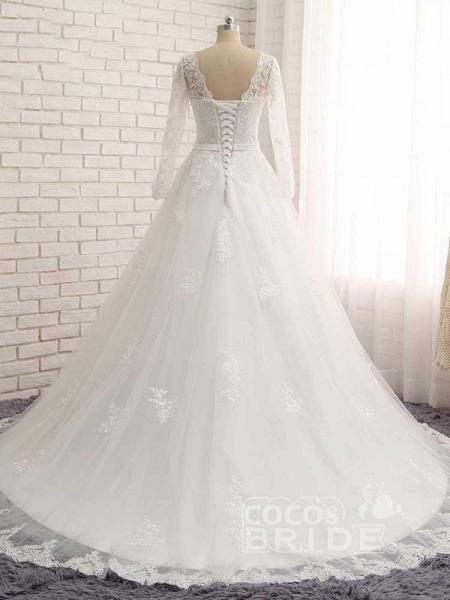 Gorgeous Long Sleeves Lace Ribbon Tulle Wedding Dresses_3