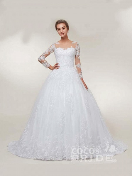 Glamorous Long Sleeves Lace-Up Ball Gown Wedding Dresses_2