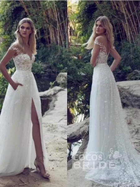 Split Lace Applique Sweep Train A Line Wedding Dresses_2