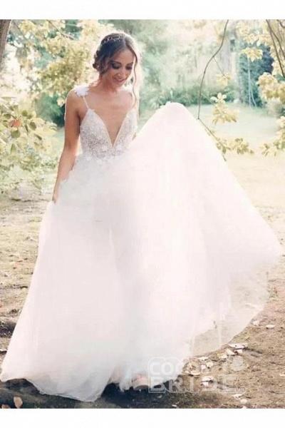 Deep V-neck Beading Straps Tulle Appliques A-line Custom Beach Wedding Dress_6