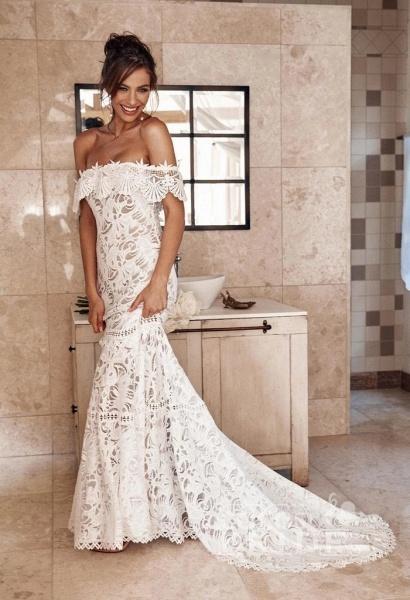 Charming Off the Shoulder Lace Boho Beach Wedding Dress_4