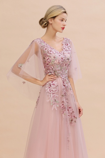 Dusty Pink Tulle Short Sleeve Long Prom Dress_5