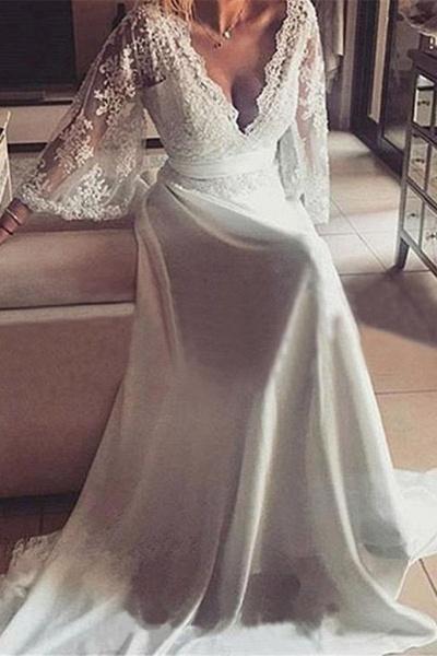 Romantic Boho V Neck Lace Appliques Chiffon Long Beach Wedding Dress_1