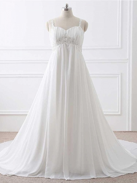Gorgeous Spaghetti Straps A-Line Ruffles Wedding Dresses