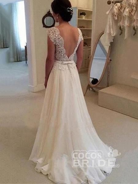 Cheap Jewel Backless Lace A-Line Wedding Dresses_4