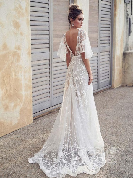 Cheap V Neck Half Sleeve Lace Boho Wedding Dresses_2