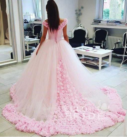 Pink Ball Gown Princess Off-shoulder Hand-Made Flower Wedding Dress_2