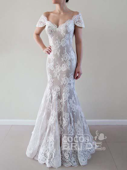 Mermaid Off-the-shoulder Trumpet Tulle Appliques Lace Beach Wedding Dress_2
