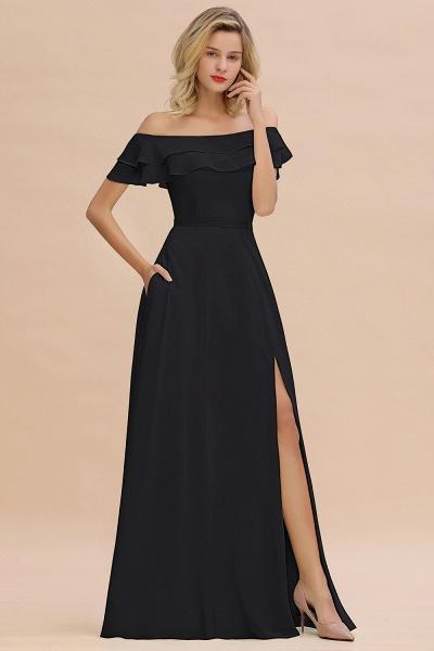 BM0775 Off-the-Shoulder Front Slit Mint Green Long Bridesmaid Dress_29