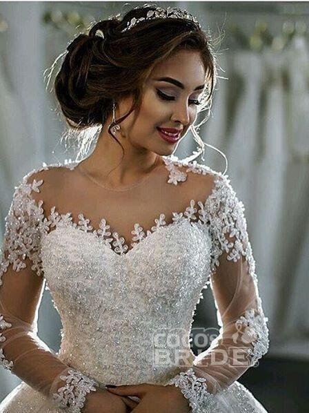 Elegant Long Sleeves Lace Appliques Ball Gown Wedding Dresses_3