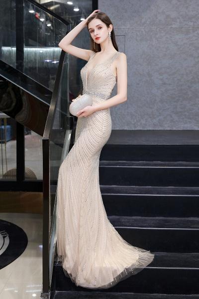 Sexy Mermaid V-neck Silver Long Prom Dress_16