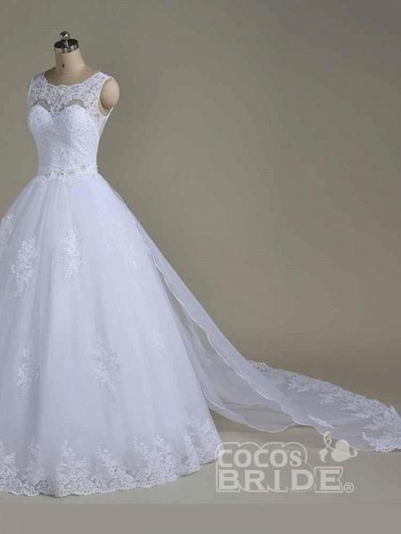 Elegant Jewel Lace Ball Gown Wedding Dresses_2