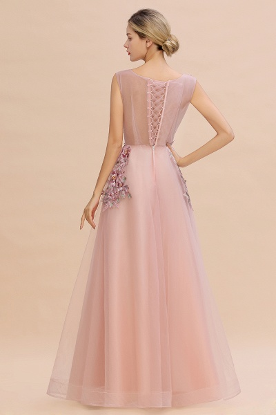 Gorgeous Dusty Pink Tulle Long Lace Appliques Prom Dress_7