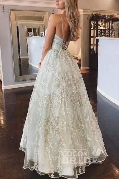 Floor Length Spaghetti Straps Backless Beach Wedding Dress_2