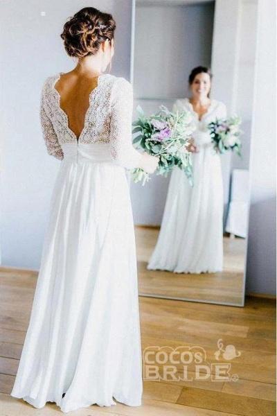 Floor Length Chiffon Beach Lace Backless Wedding Dress_4