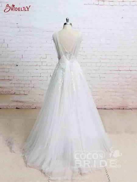 Glamorous V-Neck Backless Floor-Length Wedding Dresses_2