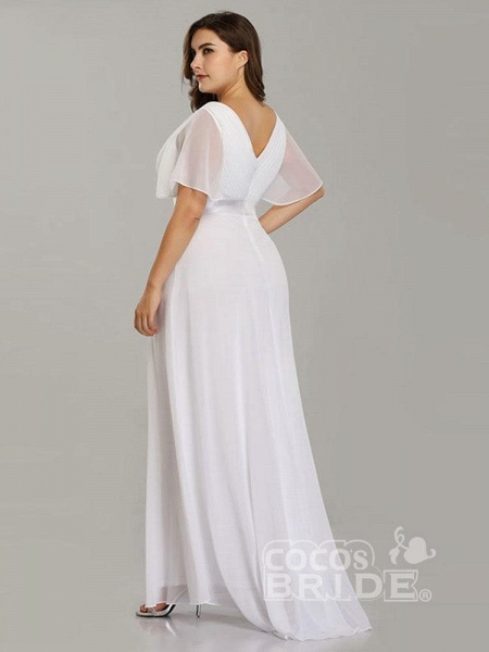 Empire Waist V-neck Half-Sleeves Ruffles Wedding Dresses_3