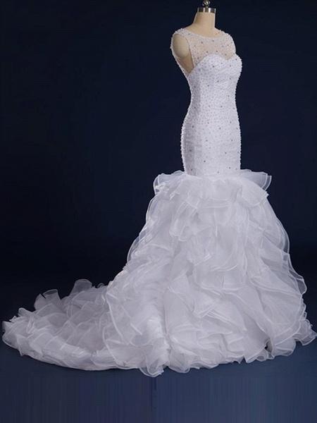 Gorgeous Sleeveless Covered Button Mermaid Wedding Dresses_1