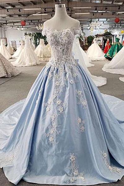 Light Blue Satin Off Shoulder Sweep Train Wedding Dress_1