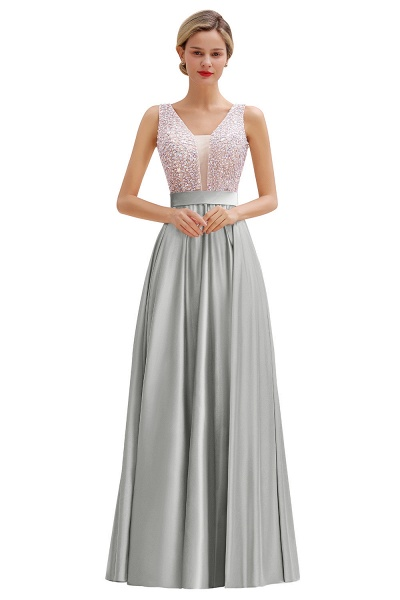 Awesome Open Back Beading Satin A-line Prom Dress_4