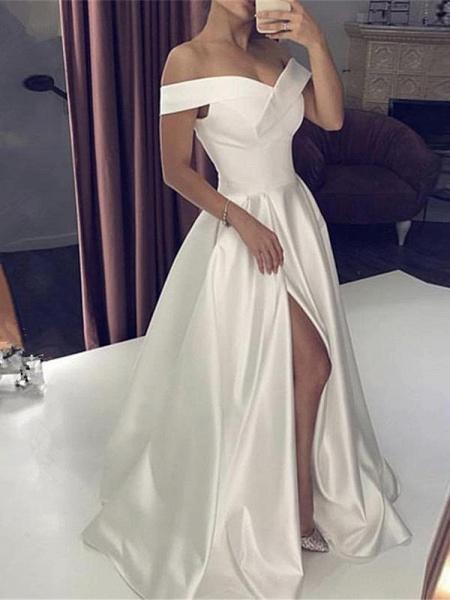 Off-the-Shoulder Backless A-Line Wedding Dresses_1