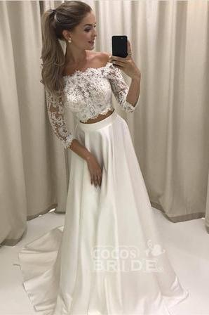 Two Piece 3/4 Sleeve Off the Shoulder Lace Satin Beach Wedding Dress_2