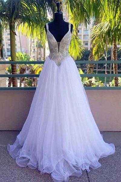 Stylish White Tulle Long Sequins Wedding Dress_1