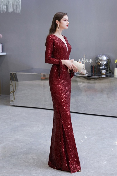 Gorgeous Sequins Long Sleeve V-Neck Mermaid Evening Gowns_29