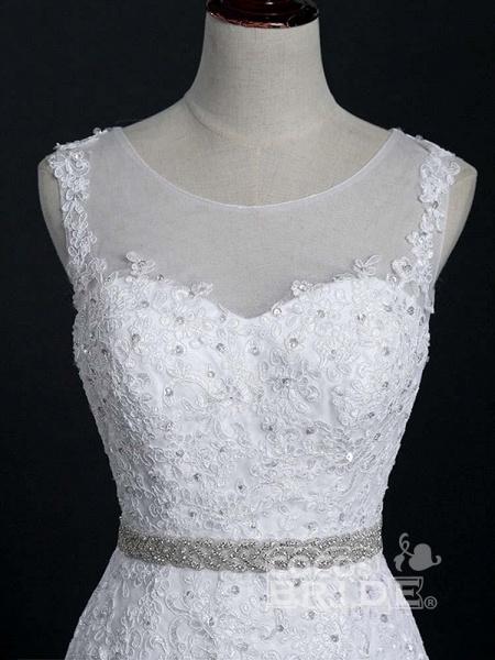 Lace Sashes Mermaid Wedding Dresses_4